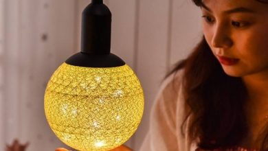 تصویر از خرید لامپ های دکوراتیو توپی با روکش کتان مخصوص اتاق خواب