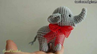 تصویر از آموزش بافت عروسک فیل کوچک زیبا با قلاب