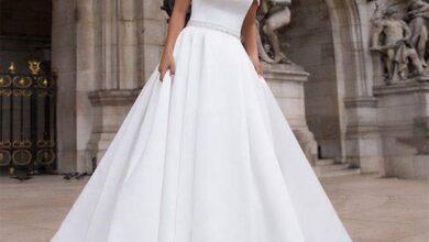 تصویر از جدیدترین مدل لباس عروس یقه قایقی 2022   لباس عروس شیک