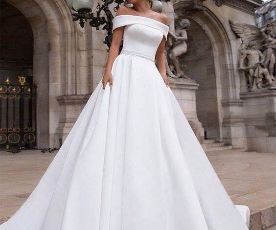 جدیدترین مدل لباس عروس یقه قایقی 2022   لباس عروس شیک