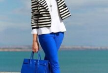 تصویر از ست شلوار آبی زنانه با رنگهای متفاوت و جذاب 2022 | ست لباس